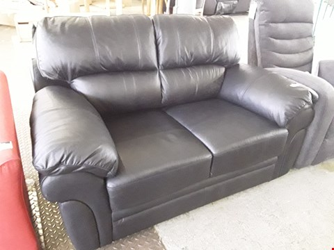 Lot 92 DESIGNER BLACK LEATHER TWO SEATER SOFA