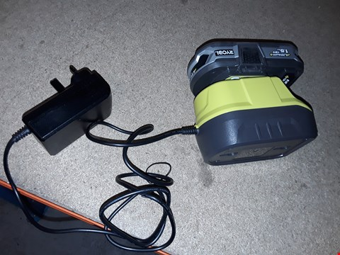 Lot 7910 RYOBI ONE+ 18V LITHIUM BATTERY AND CHARGER