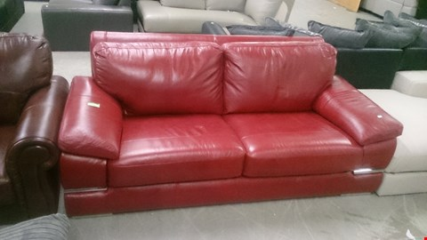 Lot 114 DESIGNER RED LEATHER 3 SEATER SOFA WITH CHROME DETAIL