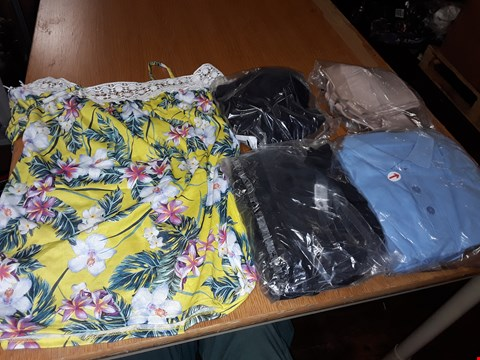Lot 8079 LOT OF APPROXIMATELY 5 ASSORTED DESIGNER CLOTHING ITEMS TO INCLUDE BLACK CROSS STRAP SLIP DRESS AND 5PK OF BOYS BLUE SCHOOLWEAR POLOS