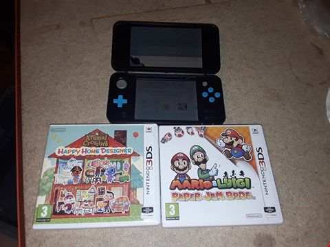 Lot 9276 NEW NINTENDO 2DS XL WITH 3 GAMES, BLACK AND BLUE WITH ANIMAL CROSSING HAPPY HOME DESIGNER AND MARIO & LUIGI PAPER JAM BROS. RRP £290.00