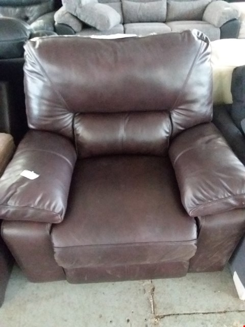 Lot 98 DESIGNER BROWN FAUX LEATHER RECLINING ARM CHAIR