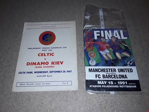 Lot 505 LOT OF 2 RARE AND COLLECTABLE ITEMS TO INCLUDE EUROPEAN CUP WINNERS' CUP FINAL MANCHESTER UTD VS FC BARCELONA MAY 15 1991 PROGRAMME AND EUROPEAN CUP FIRST LEG CELTIC VS DINAMO KIEV 1967 PROGRAMME