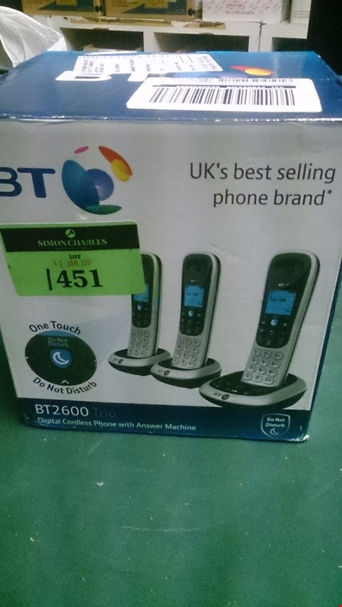 Lot 1451 BT 2600 TRIO DIGITAL CORDLESS HOME PHONE WITH ANSWERPHONE  RRP £89.99
