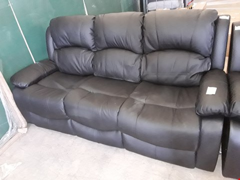 Lot 60 3 SEATER FAUX LEATHER RECLINER SOFA IN BLACK
