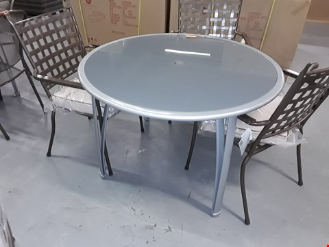 Lot 419 BRAND NEW BOXED CHAMPAGNE 112cm ROUND GLASS TOP PATIO TABLE RRP £165
