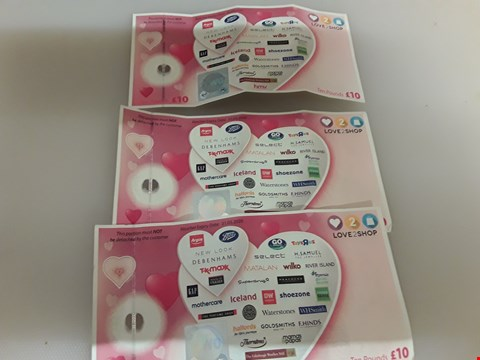 Lot 60 6 ASSORTED GIFT CARDS AND VOUCHERS TO INCLUDE LOVE 2 SHOP, SMYTHS, TK MAX AND MOTHERCARE TOTAL VALUE £95