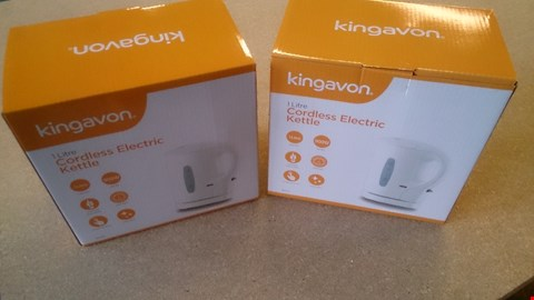 Lot 33 TWO BOXED KINGAVON 1 LITRE CORDLESS KETTLES