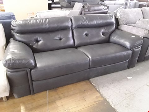 Lot 85 DESIGNER GUNMETAL GREY LEATHER THREE SEATER SOFA