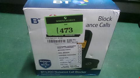 Lot 1473 BT 1200 NUISANCE CALL BLOCKER DIGITAL CORDLESS HOME PHONE  RRP £24.99