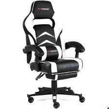 Lot 48 BOXED GT FORCE LEATHER RACING SPORTS OFFICE CHAIR IN BLACK