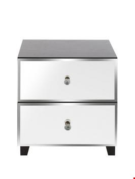 Lot 156 BOXED BELLAGIO 2 DRAWER BEDSIDE CHEST WHITE MIRROR (1 BOX)  RRP £109
