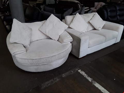 Lot 5 DESIGNER SANDY WHITE FABRIC SUITE, COMPRISING, TWO SEATER SOFA & SWIVEL SNUGGLE CHAIR