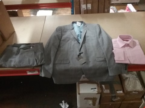 Lot 1316 LOT OF 8 BOXES CONTAINING APPROXIMATLEY 119 ASSORTED CLOTHING ITEMS TO INCLUDE CITY LONG SLEEVE SMART SHIRT PINK, WILLIAMS & BROWN SUIT TROUSER AND WILLIAMS & BROWN GREY SUIT JACKET