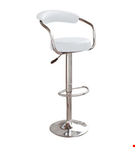 Lot 59 PAIR OF BOXED ZENITH WHITE CONTEMPORARY GAS LIFT BARSTOOLS WITH CHROME BASE