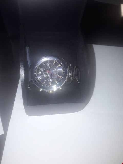 Lot 1107 ARMANI EXCHANGE MENS WATCH STAINLESS STEEL CASE AND BRACELET, BLUE DIAL WITH GOLD TONE ACCENTS RRP £249