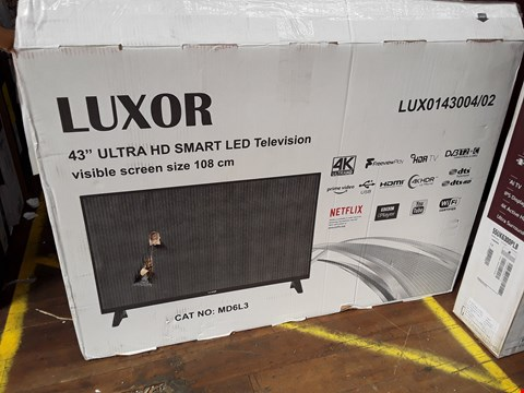 "Lot 1084 LUXOR 43"" 4K ULTRA HD SMART TELEVISION MODEL LUX0143004/01 RRP £349.99"