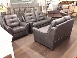 Lot 20 QUALITY DESIGNER BRITISH MADE HARDWOOD FRAMED CHARCOAL LEATHER ELECTRIC RECLINING 3-PIECE SUITE, COMPRISING 3-SEATER, 2-SEATER AND ARMCHAIR