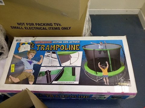 Lot 7527 BOXED SPORTSPOWER 8FT CIRCULAR TRAMPOLINE IN GREEN (1 BOX)