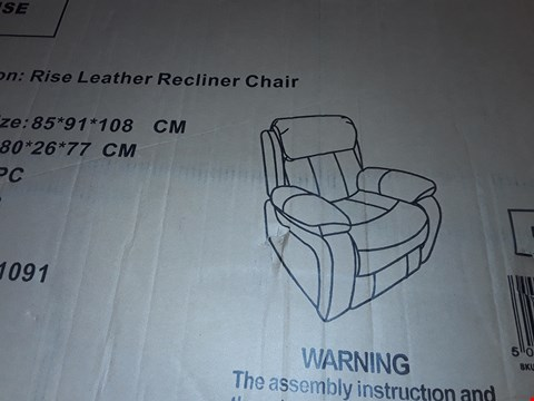 Lot 12139 BOXED CHESTER BROWN LEATHER POWER RISE & RECLINE EASY CHAIR  RRP £549.99