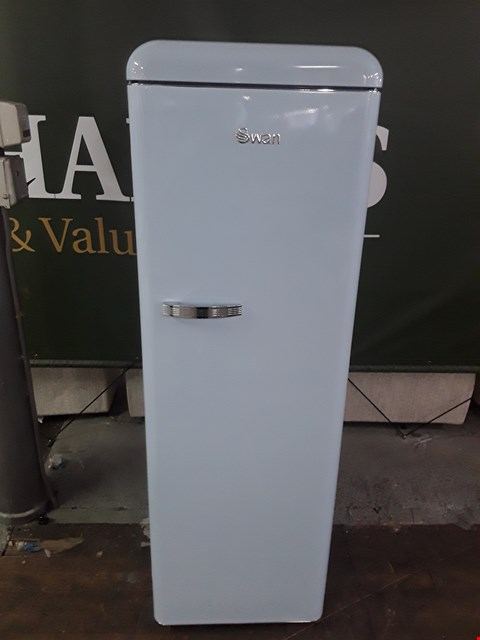 Lot 8588 SWAN SR11050  RETRO STYLE TALL FRIDGE IN BLUE  RRP £739.00