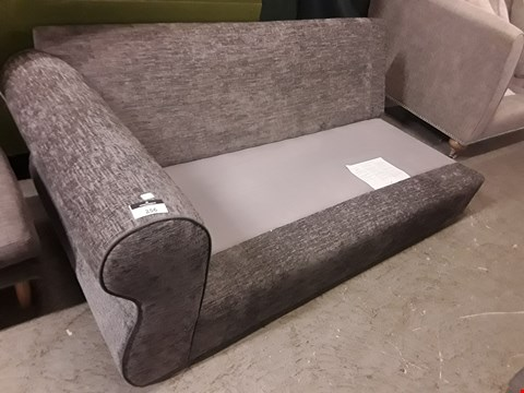 Lot 72 DESIGNER GREY FABRIC TWO SEATER SOFA FRAME SECTION, NO CUSHIONS,