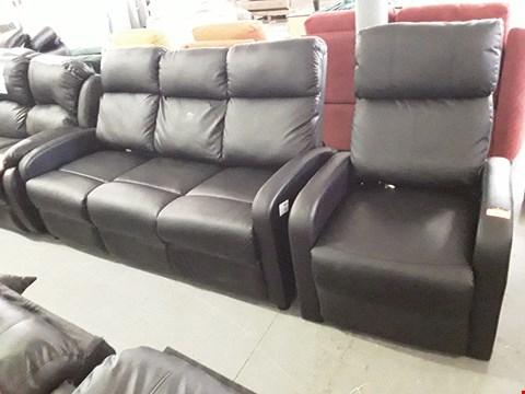 Lot 168 DESIGNER BLACK FAUX LEATHER SUITE, COMPRISING, POWER RECLINING MASSAGE CHAIR & POWER RECLINING THREE SEATER SOFA