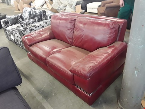Lot 93 DESIGNER RED LEATHER 2 SOFA WITH CHROME DETAILING