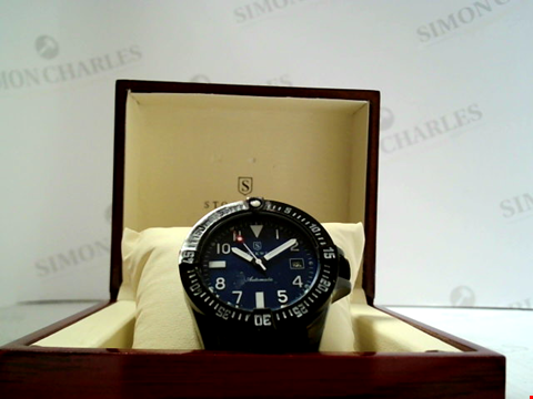 Lot 9119 DESIGNER STOCKWELL AUTOMATIC WATCH BLACK STAINLESS STRAP RRP £625.00