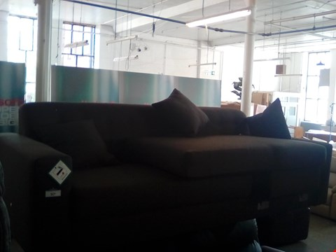 Lot 77 DESIGNER GREY FABRIC CHAISE SOFA WITH BUTTON BACK