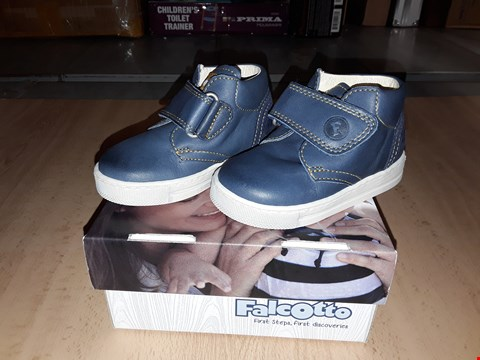 Lot 12424 BOXED FALCOTTO BIRD BLUE LEATHER VELCRO BOOTS UK SIZE 4 JUNIOR