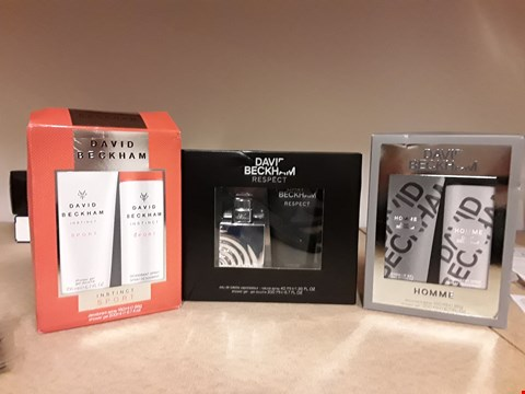 Lot 2046 LOT OF 3 DAVID BECKHAM GIFT SETS TO INCLUDE HOMME DEODERANT & SHOWER GEL, RESPECT EAU DE TOILETTE & SHOWER GEL AND INSTINCT SPORT DEODERANT AND SHOWER GEL