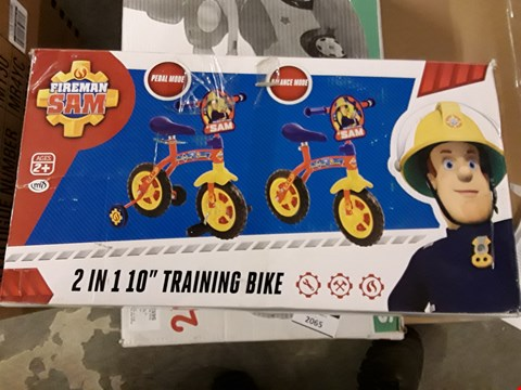 Lot 2064 FIREMAN SAM 2IN1 10INCH TRAINING BIKE  RRP £67