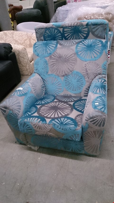 Lot 1223 DESIGNER GREY AND BLUE FABRIC ARM CHAIR