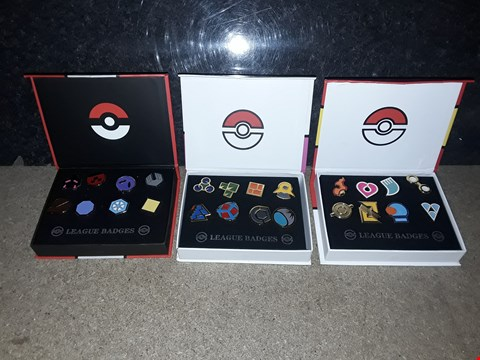 Lot 3073 LOT OF 3 ASSORTED SETS OF POKEMON BADGES