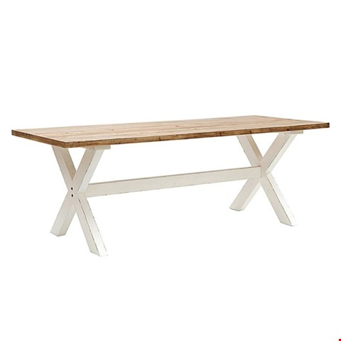 Lot 100 BOXED WILLIS & GAMBIER NATURAL OAK AND WHITE REVIVAL PLAISTOW FIXED TOP TABLE RRP £719