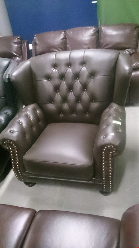 Lot 198 DESIGNER HARRINGTON BROWN LEATHER WING BACK ARMCHAIR WITH BUTTON AND STUDDED DETAIL