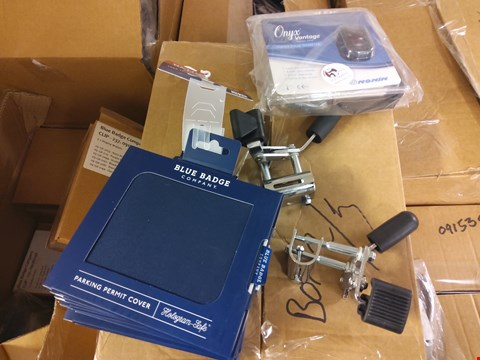 Lot 2010 PALLET OF ASSORTED ITEMS TO INCLUDE: PARKING PERMIT COVERS, FINGER PULSE OXIMETERS ETC