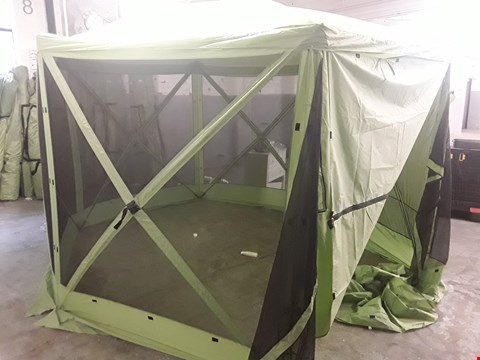Lot 26 GREEN HEXAGONAL POP UP GAZEBO WITH FULLY SCREENED SIDES