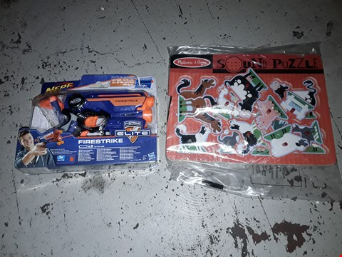 Lot 2278 LOT OF 2 ITEMS TO INCLUDE NERF ELITE FIRE STRIKE AND MELISSA & DOUG SOUND PUZZLE  RRP £31.96