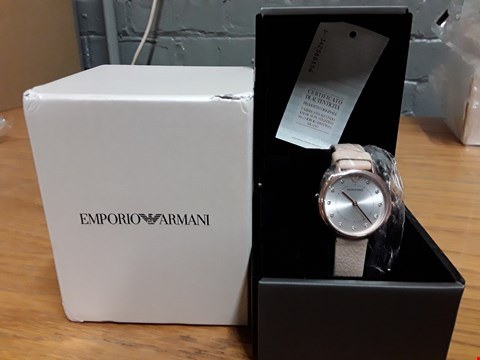 Lot 427 GRADE 1 EMPORIO ARMANI ROSE GOLD STAINLESS STEEL LEATHER STRAP LADIES WATCH RRP £265