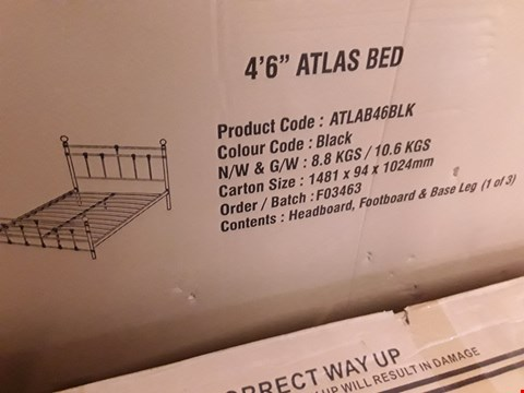 "Lot 2056 BOX OF ATLAS 4'6"" BED PARTS, HEADBOARD & FOOTBOARD  BLACK ( BOX 1 OF 3 ONLY)"
