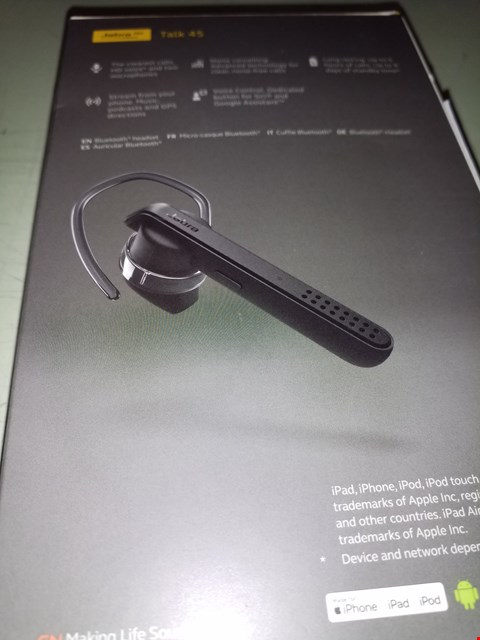 Lot 202 JABRA TALK 45 BLUETOOTH MONO HEADSET WITH NOISE CANCELLATION AND ONE TOUCH VOICE ASSISTANT