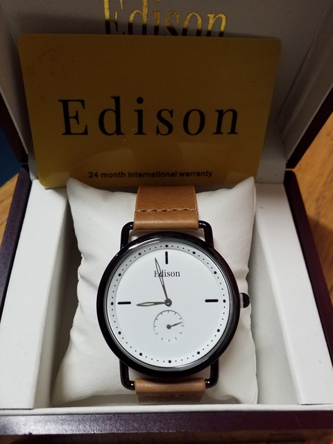 Lot 99 EDISON WRIST WATCH WITH BLACK METAL CASING, WHITE DIAL & TAN LEATHER STRAP