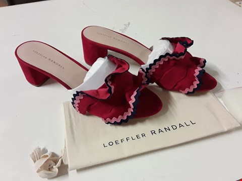 Lot 14 PAIR OF LOEFFLER RANDALL VERA SUEDE BLOCK HEELED FRILL SANDALS IN RED - SIZE 10