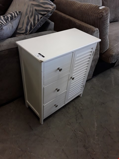 Lot 96 DESIGNER WHITE FINISH 3 DRAWER, 1 DOOR CABINET