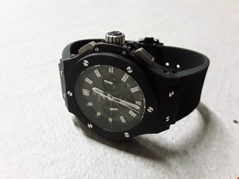 Lot 6023 HUBLOT STYLE ALL BLACK WATCH WITH CHROME DETAIL