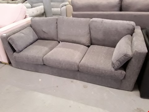 Lot 2035 DESIGNER GREY FABRIC THREE SEATER SOFA
