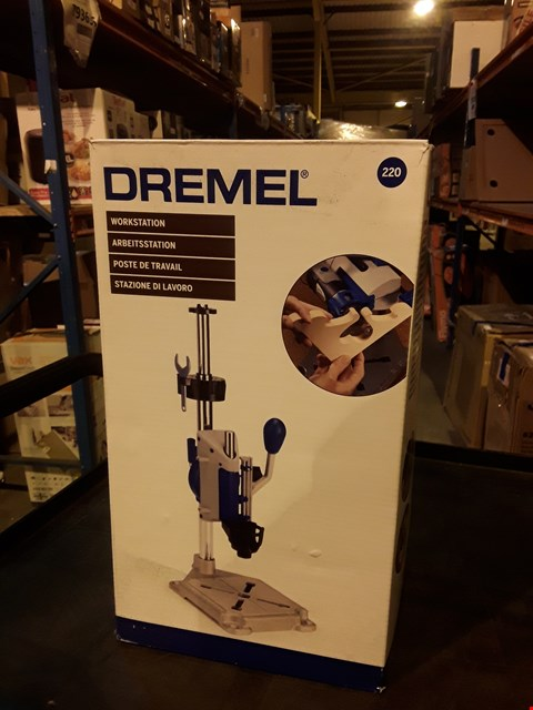 Lot 4266 DREMEL WORKSTATION DRILL-PRESS, ROTARY TOOL HOLDER, FLEX SHAFT TOOL STAND AND TOOLBOX