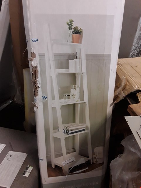 Lot 2017 DESIGNER BOXED WHITE FINISH LADDER SHELVES